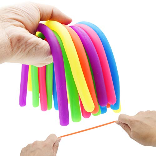 ENTHUR Fidget Toys Stretchy String Sensory Toys, Build Resistance Squeeze Pull- 12 Pack