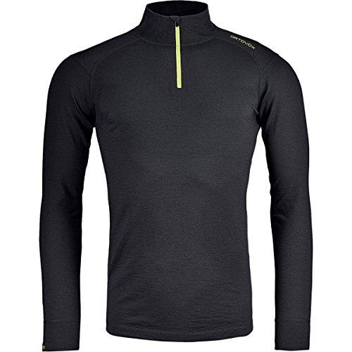 ORTOVOX 145 Ultra Zip Neck T-Shirt à Manches Longues pour Homme M Black Raven