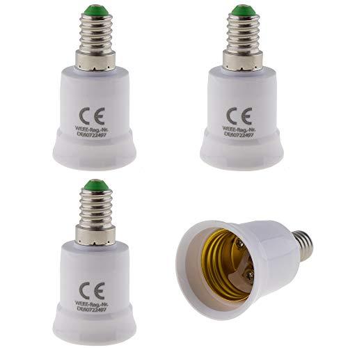 4er Set - E14 Fassung auf E27 Fassung Lampensockel Adapter; Lampenadapter für LED Halogen und Energiespar Leuchtmittel