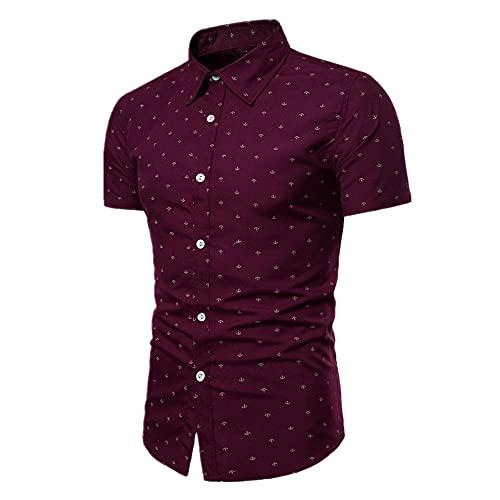 N\P Impresión de manga corta Camisas de hombre Tamaño de vestido delgado