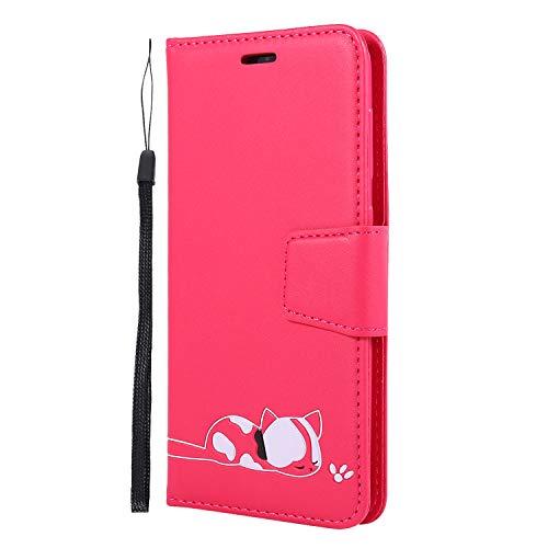 Lomogo Galaxy A20 / A30 Hülle Leder, Schutzhülle Brieftasche mit Kartenfach Klappbar Magnetisch Stoßfest Handyhülle Case für Samsung Galaxy A20/A30 - LOGHU050080 Rosa Rot
