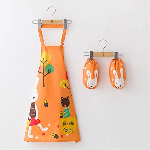 FHFF Schort Waterproof Aprons Children's Drawing Clothes Pupils Anti-Wearing Smock Mouwloos Painting Clothes Hoogte 100-150cm Oranje Walking