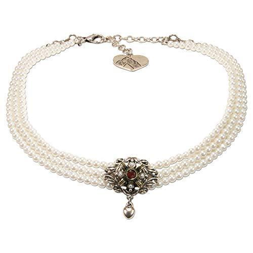 Alpenflüstern Trachten-Perlen-Kropfkette Mary - nostalgische Trachtenkette, eleganter Damen-Trachtenschmuck, Dirndlkette Creme-weiß, roter Stein DHK235