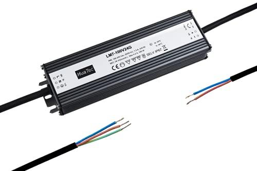 HuaTec Eaglerise Transformador LED 12V 24V 60W 150W 200W 250W 300W Impermeable IP67 Tensión Constante para Tira LED Alimentador Fuente de Alimentación LED (24V 100W)