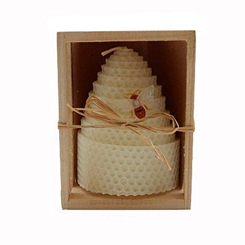 Green Pastures Wholesale Beeswax White Honeycomb Shaped Pillar Candle, 3 by 4-Inch