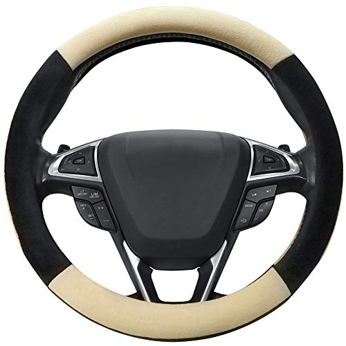SEG Direct Beige Plush Winter Auto Car Steering Wheel Cover...