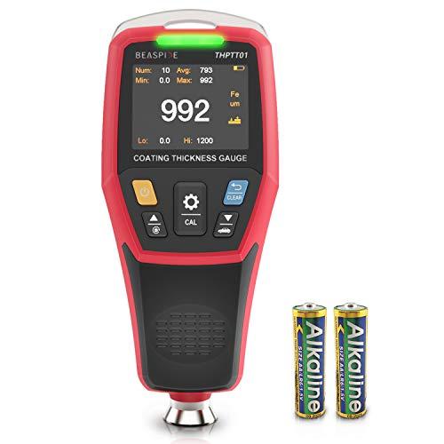 Beaspire Schichtdickenmessgerät mit LCD-Anzeige, Lackschichtenmesser Lacktester Messbereich 0-1200um, Speicherkapazität 500 Messwerte, Messgenauigkeit ±3% + 1 µm Lackmessgerät für Auto, Inkl. Batterie
