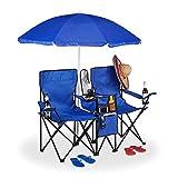 Relaxdays, blau Campingstuhl, Faltbarer Doppel Klappstuhl mit Sonnenschirm, Kühltasche, 2 Fächer, Getränkehalter