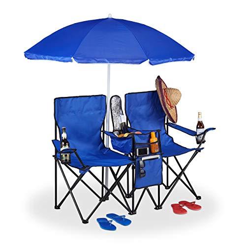 Relaxdays Campingstuhl, Faltbarer Doppel Klappstuhl mit Sonnenschirm, Kühltasche, 2 Fächer, Getränkehalter, blau