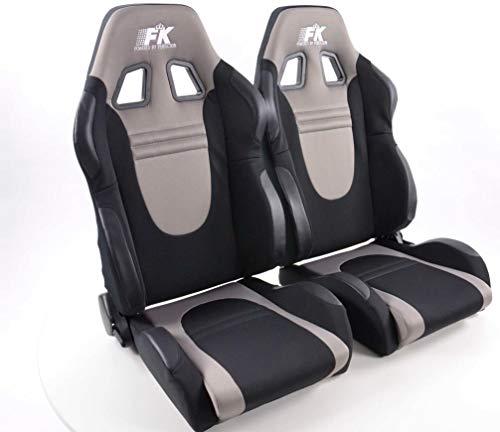 Par de asientos de cubeta ergonómicos de rendimiento deportivo, de tela Racecar, color negro y gris