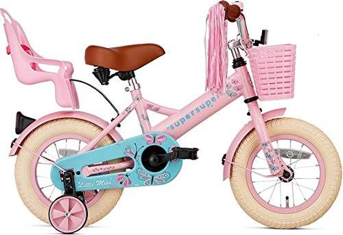 SuperSuper Little Miss Kinder Fahrrad für Kinder | Fahrrad Mädchen 12 Zoll ab 2-4 Jahre| Kinderrad met Stützrädern | Rad mit Korb und Puppensitz |Pink
