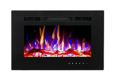 2020 New Premium Product 26inch Black Wall Mounted Electric Fire with 3 Colour Flames and can be Inserted (Pebbles, Logs and Crystals)!