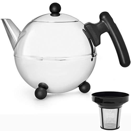 Bredemeijer Edelstahl Teekanne Set 0,75 Liter Griff schwarz mit Teefilter Sieb