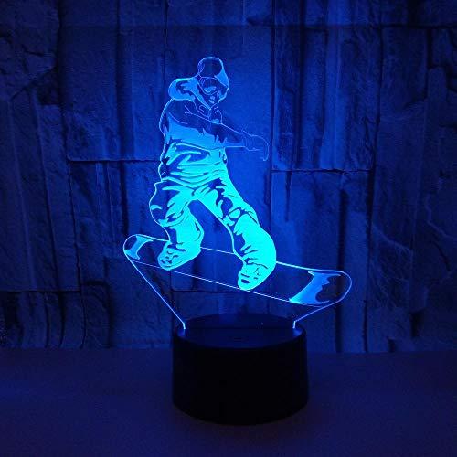 Shawujing Roller Sport 3D Lichter Bunte Touch Fernbedienung Led Visuelle Lichter Festival Geschenke 3D Nachtlicht Urlaub Geschenke, Riss Fernbedienung, 200 * 130 (Mm)