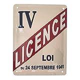 Les Collections Rétro Plaque métal Licence IV I&S (15x20cm)