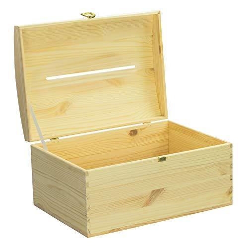 LAUBLUST Holztruhe mit Schlitz zur Hochzeit - Vogel-Pärchen - Personalisierte Geschenkkiste - 35x25x19cm, Natur, FSC® - 5