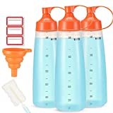 Condiment Squeeze Bottle Wide Mouth, Ondiomn 3 Pack Clear Squeeze Bottles for Condiments, Paint,...