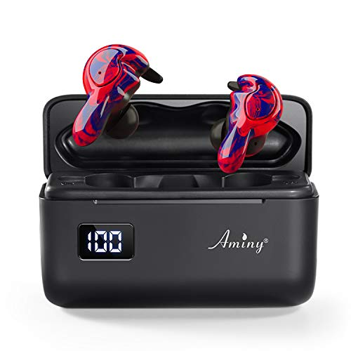 AMINY U-Mini True Wireless Earbuds Waterproof IPX7 Bluetooth Earbuds Wireless Headphones Bluetooth Headphones,HiFi 5.0 Wireless Earbuds 120Hrs Playing Time with Charging Case-Magma Red