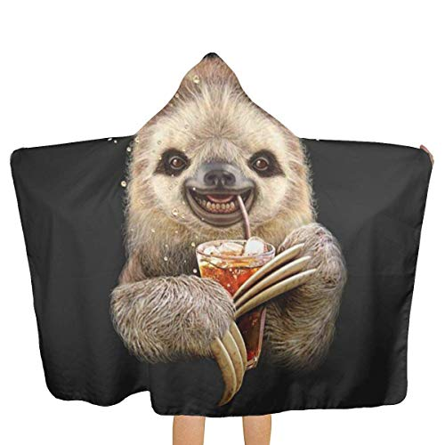 qisile Toalla de bano Sloth Juice Hooded Beach Towels,Pool Bath Towel Soft Microfiber Multi-Purpose Poncho Swim Cover Changing Robe Fun Multi-Use for Bath Shower Pool Swim 32x52 Inch Kids