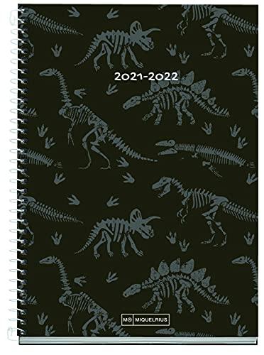 MIQUELRIUS - Agenda Escolar 2021-2022 - Tamaño PLUS 15 x 21,3 cm, Semana Vista, Junior Jurassic, Idioma Español