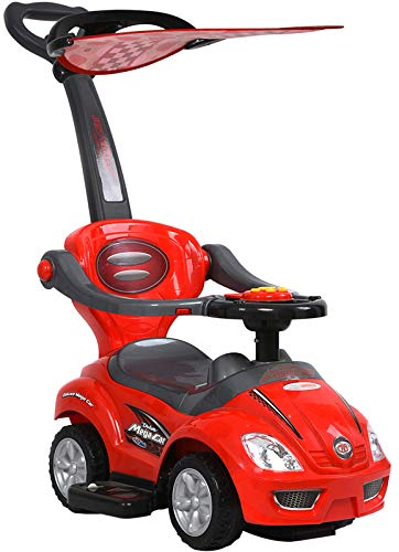 ChromeWheels 3 in 1 Ride on Toys Pushing Car with Removable Sun Visor, Mega Car for Toddler Wagon Handle Stroller, Red