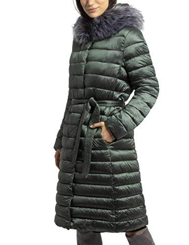 APART Warmer Damen Mantel, Steppmantel, mit elastischem Gürtel, schwarz, abnehmbar: Kapuze und Kunstfell, Oliv metallic, 36