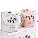 VILIGHT Mr and Mrs EST 2021 Mugs for Couple - Unique Engagement Wedding and Bridal Shower Gifts for Bride and Groom To Be - Marble Coffee Cups Set