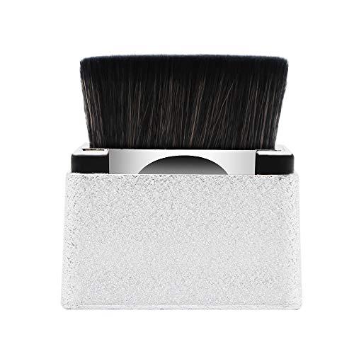 Large Foundation Powder Brush Loose Powder Brush Handle Square Head Brush Portable and Versatile Makeup Cosmetic Tool (Silver) …