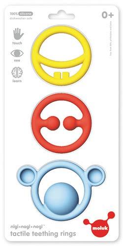 MOLUK 43400 Nigi, Nagi & Nogi, innovatives Greif-und Beißspielzeug, Lernspielzeug, Primary Colors, Babyspielzeug ab 0+ Monaten, gelb, rot, blau