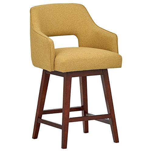 Marca Amazon -Rivet Malida - Taburete de cocina con asiento giratorio y respaldo abierto estilo Mid-century, 94 cm de alto (amarillo canario)