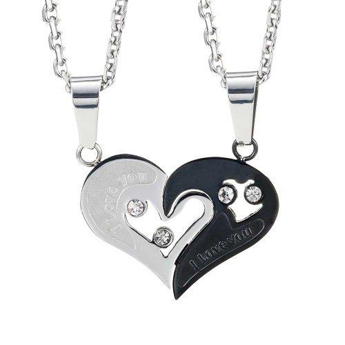 Urban-Jewelry Collana per Innamorati per San Valentino con Pendente a Forma di Cuore Lui e Lei, 2 Pezzi, Lunghezza 48 e 53 cm
