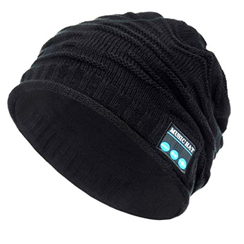 Beanie-Mütze, Bluetooth, kabellos, V 5.0, Strick, Musik, Unisex, Bluetooth-Kappe, integrierte HD-Stereo-Lautsprecher, Weihnachtsgeschenk, für Outdoor-Sport, Schwarz