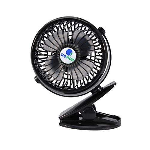 Mini Desk Fan, Glovion Clip-on Stroller Fan, 2600mAh Rechargeable Battery Clip Fan, 360 Adjustable Wind, Personal Clip or Desk Fan with Speeds Settings, Indoor& Outdoor Personal Cooler - Black