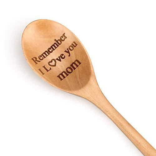 2 Pcs Engraved Wooden Spoon Handmade Mom Teaspoons Cute Stirring Spoon