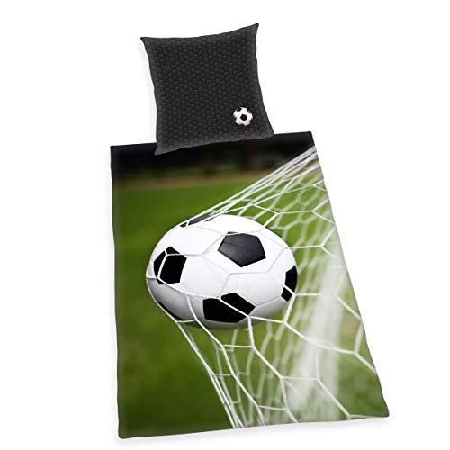 Herding Fußball Bettwäsche-Set, Kopfkissenbezug 80 x 80 cm, Bettbezug 135 x 200 cm, Baumwolle/Renforcé, Schwarz/ grau