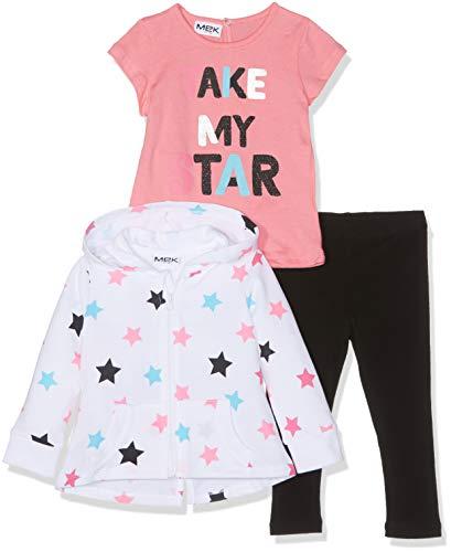 Mek MEK Baby-Mädchen Tuta 3 Pezzi : Full Zipper+t-Shirt+Pantalone Jogginganzug, Weiß (Optical White 01 001), 86 (Herstellergröße: 18M) (3er Pack)