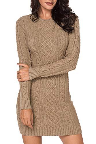 LaSuiveur Crewneck Soft Bodycon Sweater Dresses for Women Knee Length Khaki M
