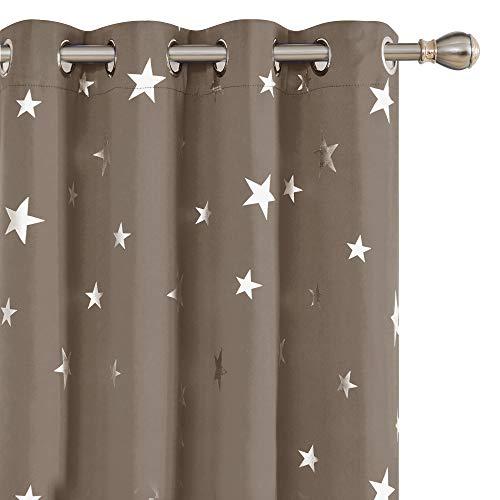 Deconovo Sterne Gardine Verdunkelungsvorhang mit Ösen Decoschals Landhausstil Kinderzimmer 175x140 cm Taupe 2er Set