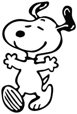 1st-Class-Designs Aufkleber Snoopy Dancing 15,2 x 10,2 cm in jeder Farbe, lustiger Stoßstangen-Aufkleber für Wohnwagen, Wohnmobil, Laptop, Auto, Van, hergestellt in Yorkshire