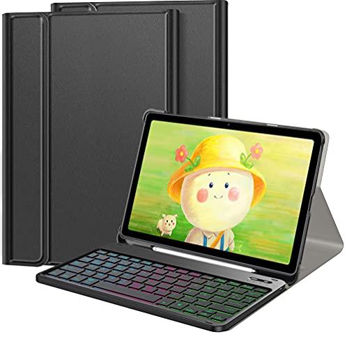 IVSOTEC Funda con Teclado Español Ñ para Samsung Galaxy Tab S7 11', con 7 Colores Retroiluminación Bluetooth Extraíble Teclado para Samsung Galaxy Tab S7 SM-T870/875/T878 2020,Negro
