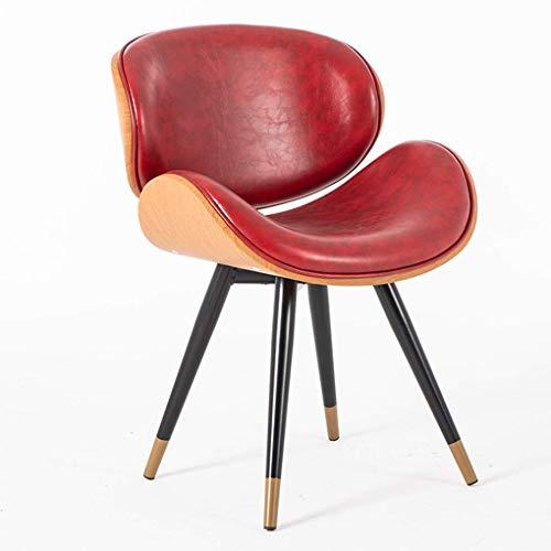ACZZ Ledersessel, Massivholz-Make-up-Stuhl, Freizeit-Seitenstühle mit eisernen Beinen, ergonomisch geschwungener Sitz, für Küche, Café, Ankleidezimmer, Büro, Waschtisch,rot