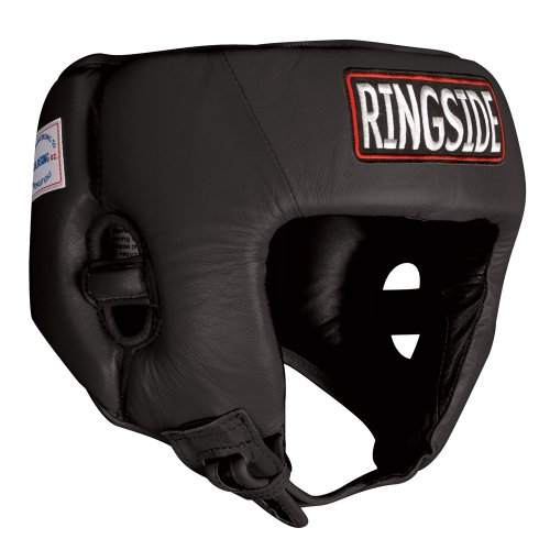 Ringside Competition Boxing Muay Thai MMA Sparring Head Protection Headgear Without Cheeks, Black, Medium