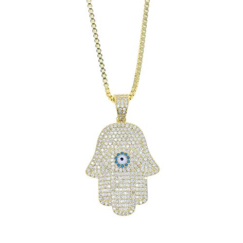 Turkish Evil Eye Hamsa Hand Of Fatima Pendant Necklace Iced Out Shiny Cz Pendant Chain Hip Hop Women Men Jewelry