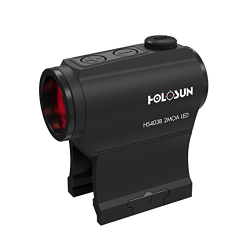 Holosun HS403B Microdot Red DOT Sight with 2MOA DOT Reticle, Black, Picatinny/Weaver Rail, for Hunting, Sport Shooting And Airsoft, Tactical Micro Red DOT Sight - 70127379