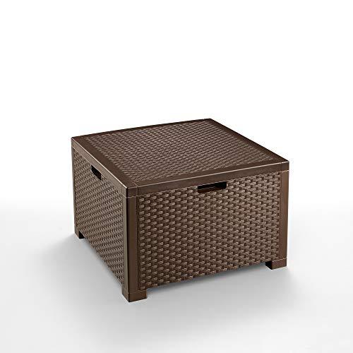 BICA Storage Table Rattan Tavolino Porta Cuscini, Marrone