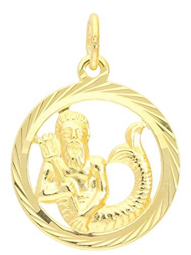 Sternzeichen Anhänger Wassermann (Ohne Kette) Gelbgold 333 Gold (8 Karat) Ø 15mm Rund Tierkreiszeichen Horoskop Sternbild Gavno A-04433-G302-Was