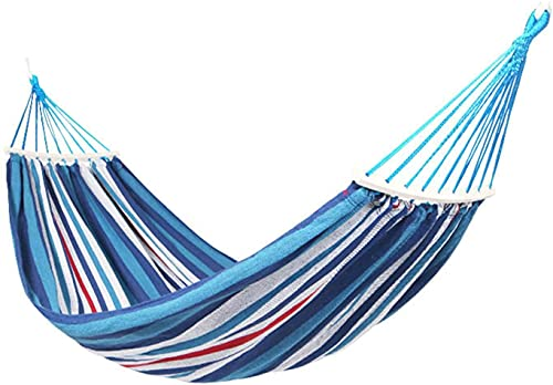 FHKBK Hamaca de Viaje para Acampar al Aire Libre, Hamaca de Lona Gruesa Doble Individual, Columpio antivuelco para niños y Adultos, Puede soportar 500 kg, Adecuada para Jardines Interior