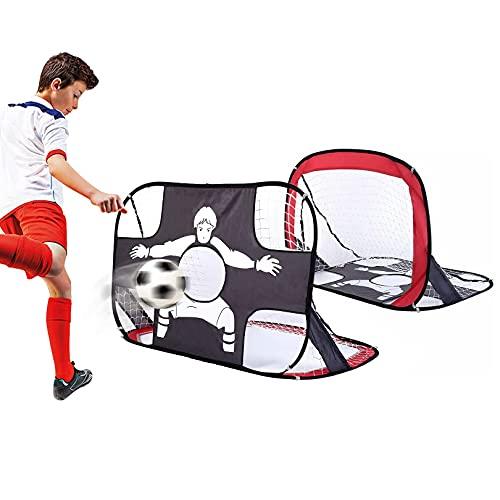baymety Fussballtore für Garten Kinder,Fussballtor Faltbar & Tragbar 2 in 1 Pop-Up Fußballtor mit Torwand und Netz, Fußball Tor für Kinder mit Tragetasche 80x80