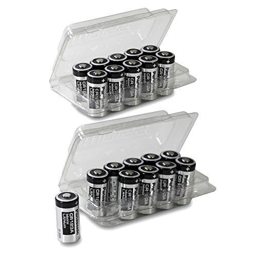 20x Panasonic CR123A Industrial Lithium Batterien CR 123 A Batterien 3V, inkl. 2X Batterieschutzbox von Weiss – More Power + (u.a. geeignet als Batterien arlo Batterien)
