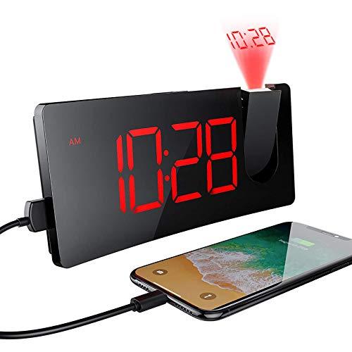 Mpow Sveglia Digitale da Comodino con Proiettore, Sveglia con Adattatore e Porta USB, 4 Livelli Luminosità Regolabile, Facile da Usare, Ultra Chiari, Snooze,12/24 Ore, per Camera da Letto